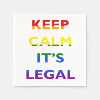 Guarde la calma que es servilletas legales de la servilleta desechable
