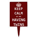 Guarde la calma que estamos teniendo gemelos figuras para tartas