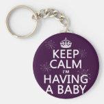 Guarde la calma que estoy teniendo un bebé (cualqu llavero personalizado