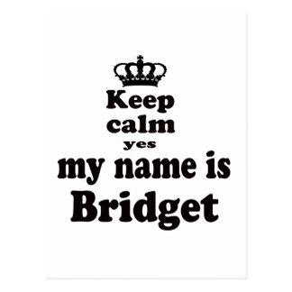 Guarde la calma que mi nombre es sí Bridget Postal