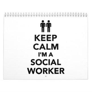 Guarde la calma que soy asistente social calendarios de pared