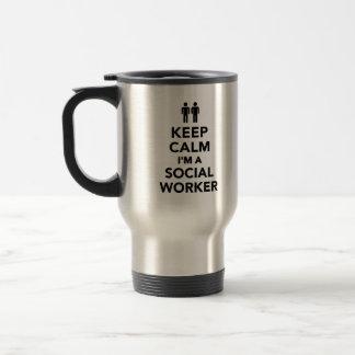 Guarde la calma que soy asistente social tazas de café