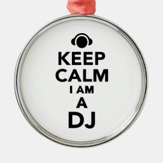 Guarde la calma que soy DJ Adorno Navideño Redondo De Metal