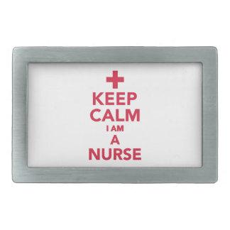 Guarde la calma que soy enfermera hebilla cinturón rectangular