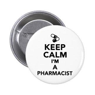 Guarde la calma que soy farmacéutico pin redondo 5 cm