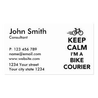 Guarde la calma que soy mensajero de la bici tarjetas de visita