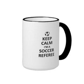 Guarde la calma que soy un árbitro del fútbol tazas de café