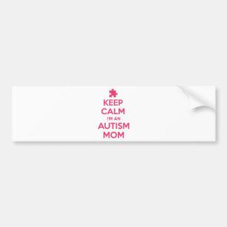 Guarde la calma que soy una mamá del autismo etiqueta de parachoque