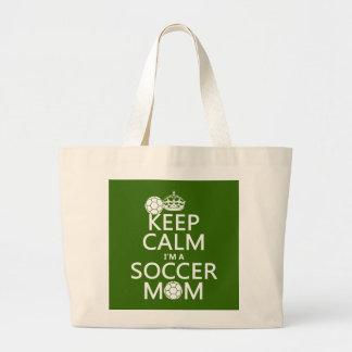 Guarde la calma que soy una mamá del fútbol (en cu bolsas de mano