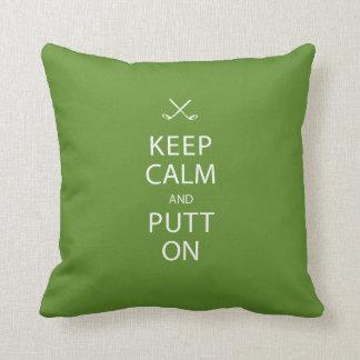 Guarde la calma - regalo del golf cojín