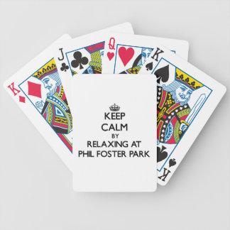 Guarde la calma relajándose en el parque adoptivo  baraja cartas de poker