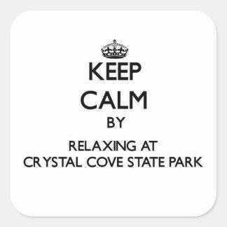 Guarde la calma relajándose en el parque de estado pegatina cuadrada