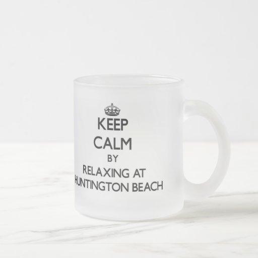 Guarde la calma relajándose en Huntington Beach Vi Tazas De Café
