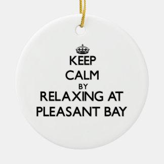 Guarde la calma relajándose en la bahía agradable  ornamento de navidad