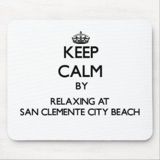 Guarde la calma relajándose en la playa C de la ci Alfombrillas De Ratones