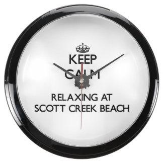 Guarde la calma relajándose en la playa Califor de Relojes Pecera