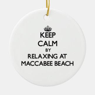 Guarde la calma relajándose en la playa California Adorno Redondo De Cerámica