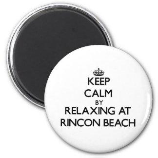 Guarde la calma relajándose en la playa California Imán Redondo 5 Cm