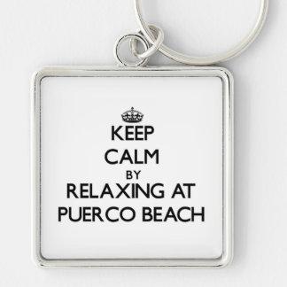Guarde la calma relajándose en la playa California Llavero Personalizado