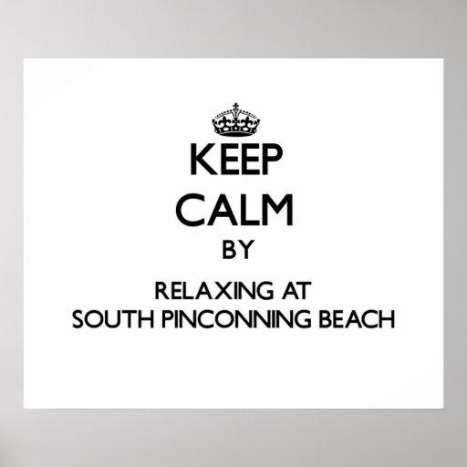 Guarde la calma relajándose en la playa del sur MI Poster