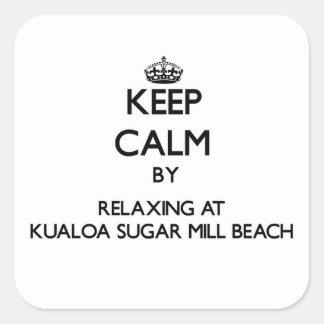 Guarde la calma relajándose en la playa H del Pegatina Cuadrada