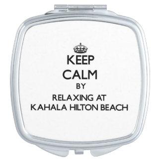 Guarde la calma relajándose en la playa Hawai de K Espejo De Maquillaje