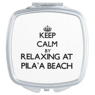 Guarde la calma relajándose en la playa Hawaii de  Espejo De Maquillaje