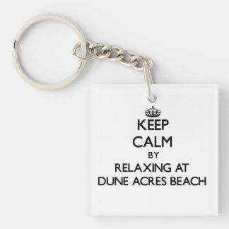 Guarde la calma relajándose en la playa Indiana de Llavero Cuadrado Acrílico A Una Cara