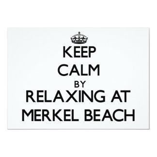 Guarde la calma relajándose en la playa invitación 12,7 x 17,8 cm