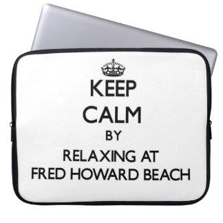 Guarde la calma relajándose en la playa la Florida Funda Computadora