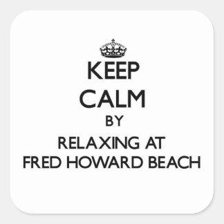 Guarde la calma relajándose en la playa la Florida Colcomanias Cuadradass