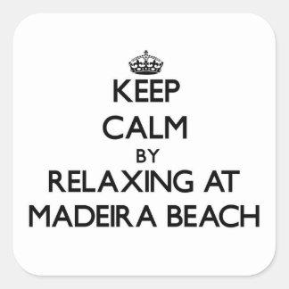 Guarde la calma relajándose en la playa la Florida Pegatina Cuadradas Personalizadas