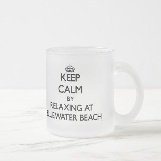 Guarde la calma relajándose en la playa la Florida Taza De Café