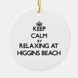 Guarde la calma relajándose en la playa Maine de Adorno Redondo De Cerámica