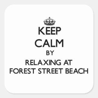 Guarde la calma relajándose en la playa Massa de Calcomania Cuadradas Personalizada