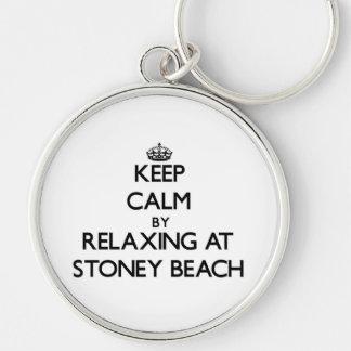 Guarde la calma relajándose en la playa Massachuse Llavero Personalizado