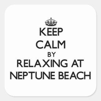Guarde la calma relajándose en la playa Oregon de Calcomanías Cuadradass