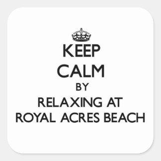 Guarde la calma relajándose en la playa real Ohio Pegatina Cuadrada
