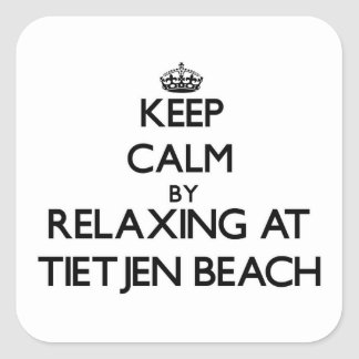 Guarde la calma relajándose en la playa Wisconsin Calcomanías Cuadradass
