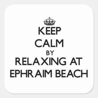 Guarde la calma relajándose en la playa Wisconsin Calcomanías Cuadradas