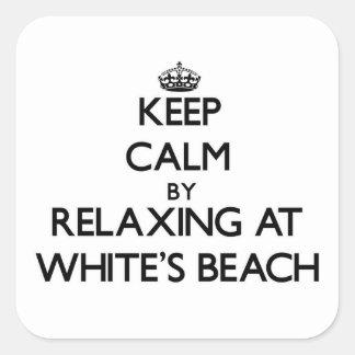 Guarde la calma relajándose en la playa Wisconsin Pegatina Cuadradas