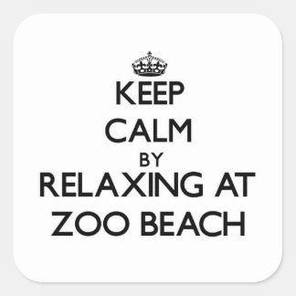 Guarde la calma relajándose en la playa Wisconsin Calcomanía Cuadradas Personalizadas