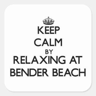 Guarde la calma relajándose en la playa Wisconsin Calcomania Cuadradas Personalizadas