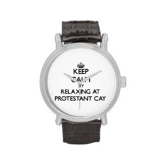 Guarde la calma relajándose en la Virgen protestan Relojes De Pulsera