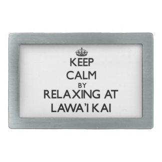 Guarde la calma relajándose en Lawa'I Kai Hawaii Hebilla De Cinturón Rectangular