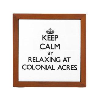 Guarde la calma relajándose en los acres coloniale