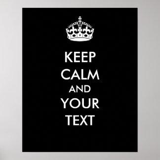 Guarde la calma su negro del texto para hacer su p