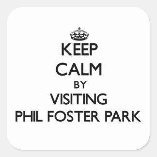 Guarde la calma visitando el parque adoptivo la pegatina cuadrada