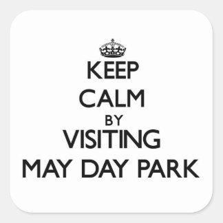 Guarde la calma visitando el parque Alabama del Pegatina Cuadrada