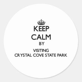Guarde la calma visitando el parque de estado pegatina redonda